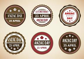 Gratis Vector Vintage Badges För Anzac Day