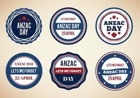 Gratis Vector Vintage Badges Voor Anzac Day