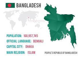 Mapa del mundo libre de Bangladesh del vector con textura del diamante