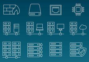 Iconos de la línea del vector del estante del servidor