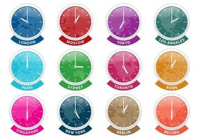 International Time Zone Clock Vectors