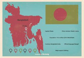 Retro Bangladesh Vector Kaart Illustratie