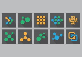 Nanotechnology Flat Icon Set