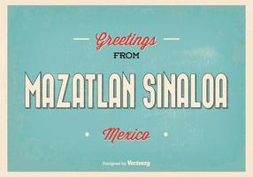 Retro Mazatlan Sinaloa Vector Greeting Illustration