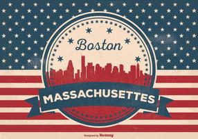 Boston massachusettes skyline illustration