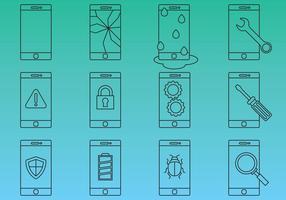 Vecteurs d'icônes de réparation de téléphones cellulaires