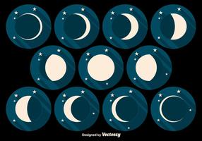Moon Phases Flat Vector Icons