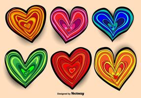 Colorful Hand-drawn Heart Vectors