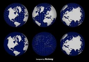 3d Globe Grid Vector Set