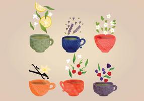 Copos de chá de vetores desenhados à mão