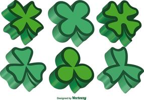 3d Green Clovers Vector Set