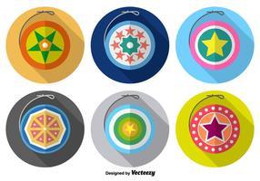 Cute Yo-yo Ícones de vetores coloridos