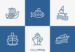 Outlined Boat And Ship Vector Icons