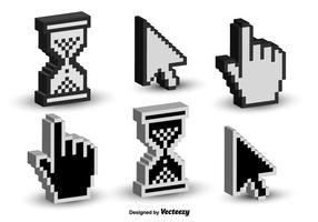 Icônes de vecteur 3D de curseur de clic de souris