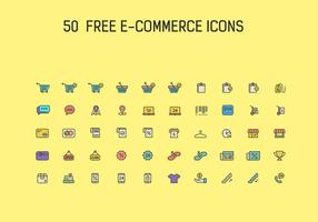 50 Kostenlose eCommerce Icon Vector Set