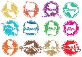 Grunge Vector Amerikaanse Staten Postzegels