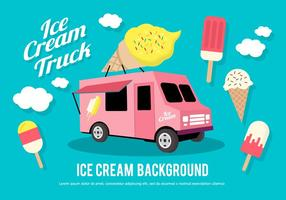Flat Ice Cream Truck Vector Illustration
