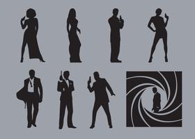Vecteurs de silhouette de James Bond