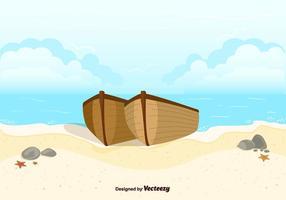 Båtar På Strand Bakgrund Vector