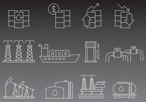 Iconos de la línea del aceite del vector