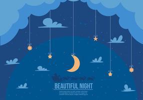 Beautiful Night Santa Sleigh Vector