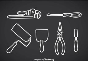 Construction Tools Outline Icons vector