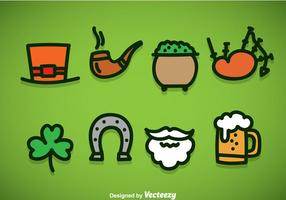 St. Patricks Day Element Icons Vektor