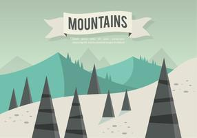 Vettore piatto paesaggio montagne gratis