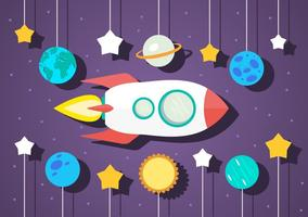 Flat Space Vector Illustration With Space Ship