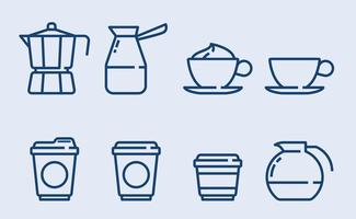 Kaffiminimalistiska ikonvektorer
