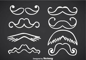 Movember Moustache White Line Vectors