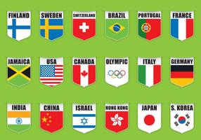 Vecteurs de bouclier de drapeau olympique