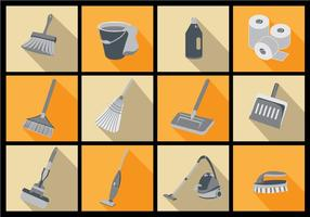 Spring Cleaning Icon Flat Vectors