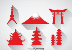 Japanische Wahrzeichen Icons Vektor