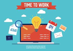 Gratis Time to Work Vector Illustration