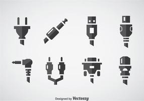 Vetor de ícones de computador de fio de cabo