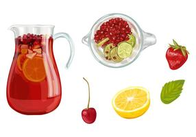 Sangria Pitcher Vektor Set