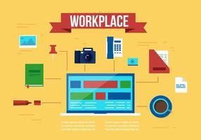 Elementos e ícones vetoriais livres do lugar de trabalho