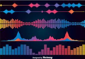 Conjuntos de vetores de ícones de barras de sons coloridos