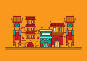 Gratis China Town Vector