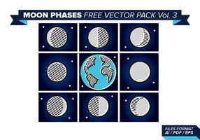 Phases de la lune pack vecteur gratuit 3