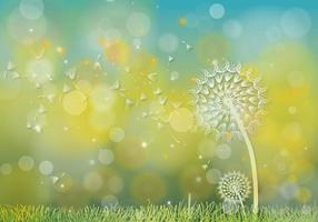 Dandelions Hijau Background Vector
