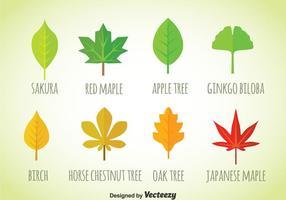 Leaf platt ikoner vektor