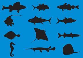 Animais marinhos vetores de silhueta