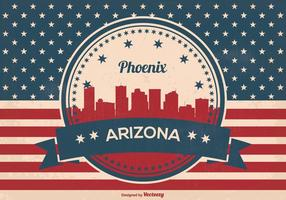 Retro Stijl Phoenix Arizona Skyline Illustratie