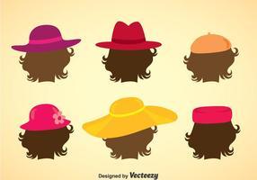 Vetor da coleção dos chapéus das senhoras