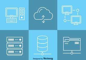 Cloud Data Computing Ikoner Vector