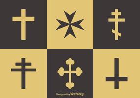 Religione attraversa icone vettoriali