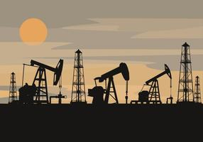 Oil Field Silhouette Vector