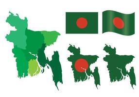 Bandera de Bangladesh y conjunto de vectores de bandera